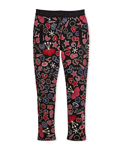 Emoji-Print Leggings, Size 4-6 and Matching Items