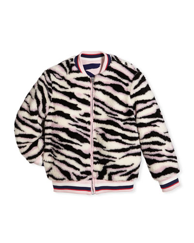 Reversible Faux-Fur Zebra Print Jacket, Size 8-12 and Matching Items