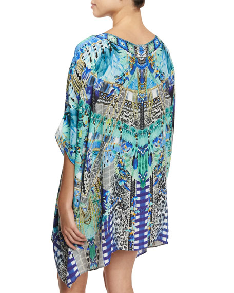 Round-Neck Embellished Kaftan Coverup, One Size