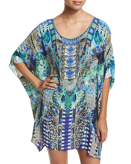Round-Neck Embellished Kaftan Coverup, One Size