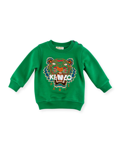 Tiger Embroidered Sweater, Green, Size 4-6 and Matching Items