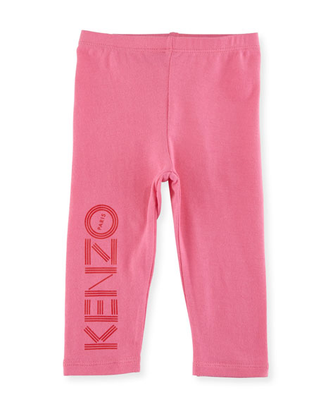 Bubble Logo Stretch Leggings, Medium Pink, Size 12-18M