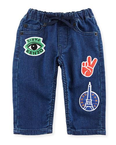 Fleece Patchwork Denim Pants, Blue, Size 12-18M and Matching Items