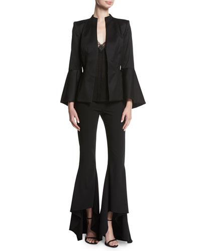 Ivana Mock-Neck Waterfall-Sleeve Wool Blazer and Matching Items