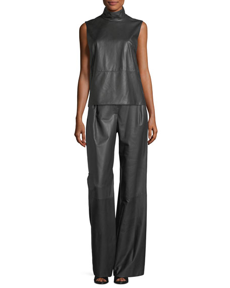 Leather-Front Wide-Leg Pants