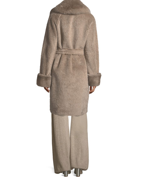Alpaca Wrap Coat with Fur Collar