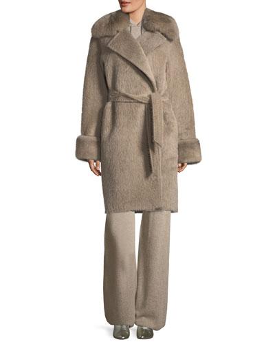 Alpaca Wrap Coat with Fur Collar and Matching Items