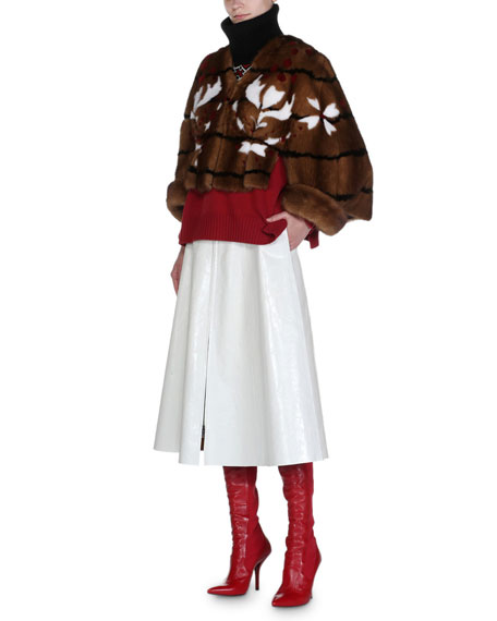 Shibori Mink Fur Cape Jacket