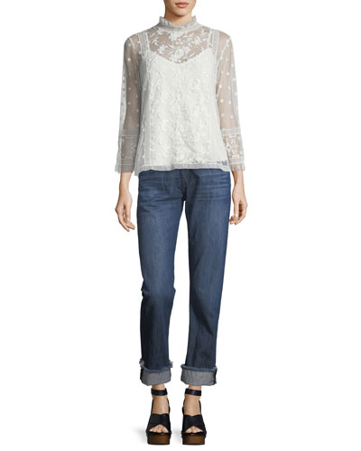 Jaelin High-Neck Semisheer Lace Blouse and Matching Items