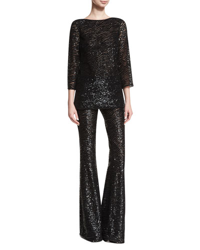 Sequined Zebra-Stripe Pants and Matching Items