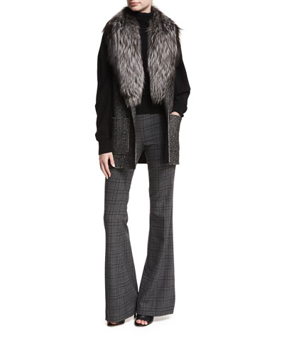 Dogtooth Wool Melton Vest with Fox Fur Shawl and Matching Items