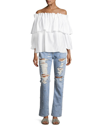 Ramponi Tiered Off-the-Shoulder Shirt w/ Pearlescent Trim and Matching Items