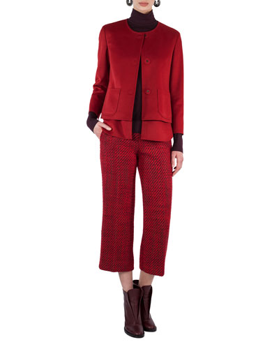 Convertible Collarless Layered Wool Jacket and Matching Items