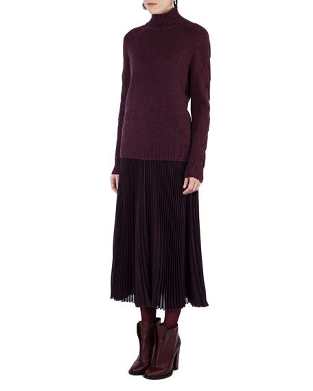 Cable-Trim Knit Turtleneck Sweater
