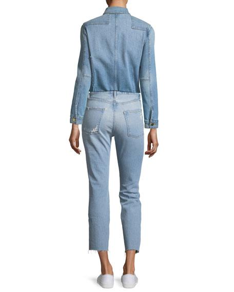 Le Patchwork Button-Front Denim Jacket