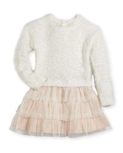 Drop-Waist Sweater Tulle Dress, Size 2-3 and Matching Items