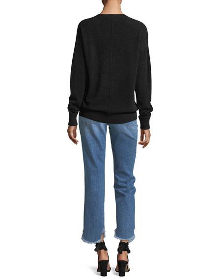 Le High Straight-Leg Jeans w/ Petal Hem