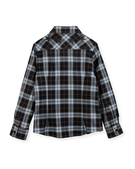 Long-Sleeve Checkered Star Button-Down Shirt, Size 4-5