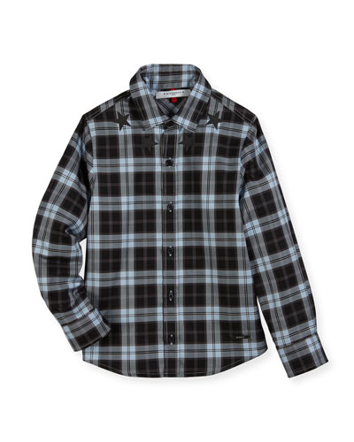 Long-Sleeve Checkered Star Button-Down Shirt, Size 4-5 and Matching Items