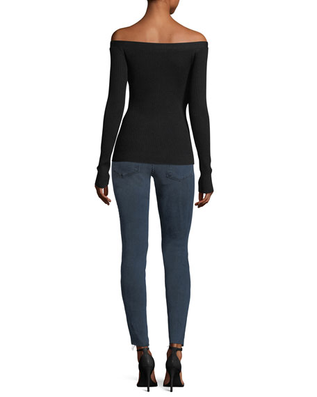 Off-the-Shoulder Long-Sleeve Fitted Cardigan Sweater