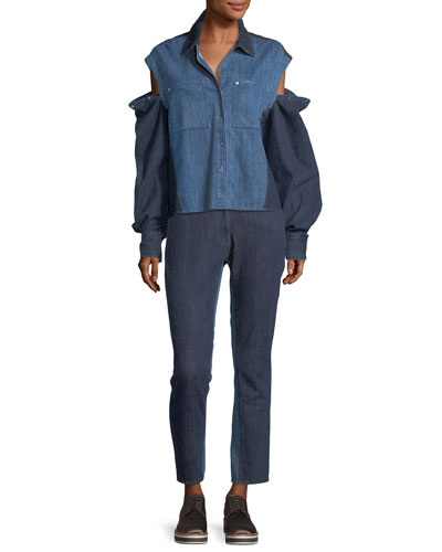 Quasay Snap-Sleeves Two-Tone Denim Shirt and Matching Items