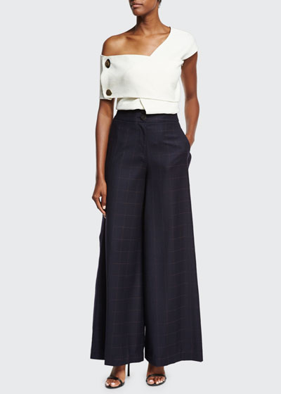 Beatrice Wide-Leg High-Waist Check Wool Trousers and Matching Items