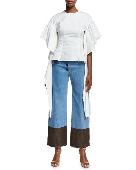 Kara Flounce-Sleeve Fitted Poplin Blouse