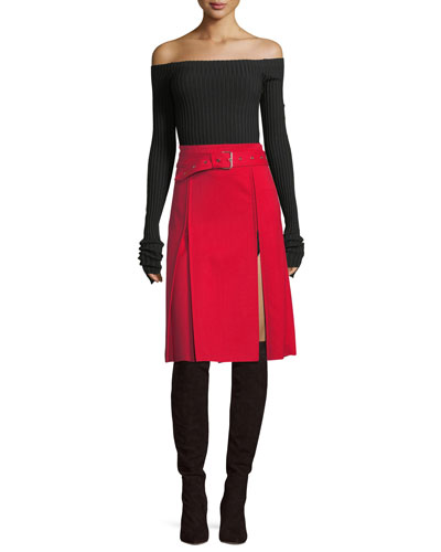 Kilt High-Waist Belted A-Line Pleated Skirt and Matching Items