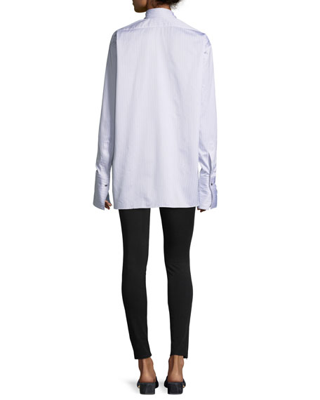 Long-Sleeve Striped Oversized Button-Front Shirt