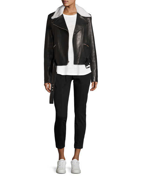 Tyrel Leather Moto Jacket w/ Shearling