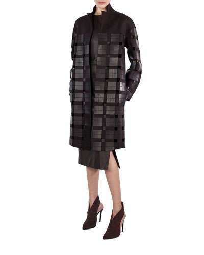 Mila Open-Front Coat with Leather Squares, Brown and Matching Items