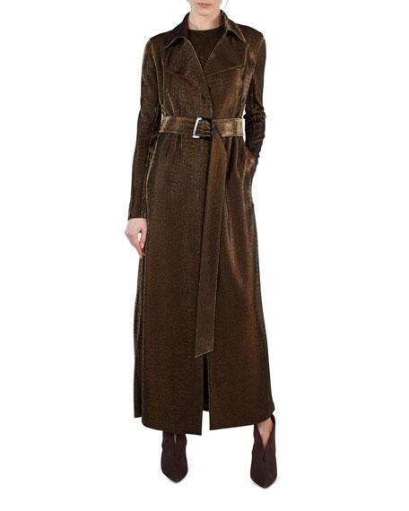 Long Metallic Jersey Trenchcoat