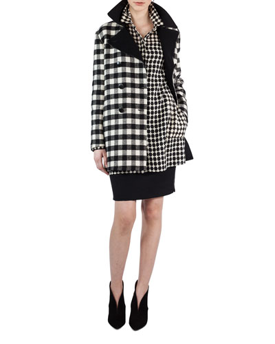 Double-Breasted Check Wool Coat and Matching Items