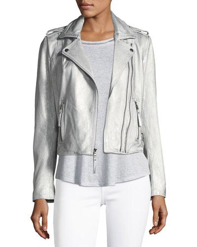 Leolani Metallic Leather Jacket, Gold and Matching Items