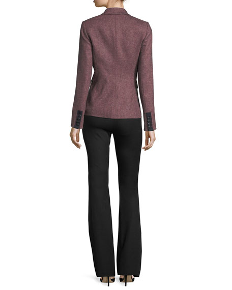 Evelyn Back-Zip Cotton-Stretch Flared Pants