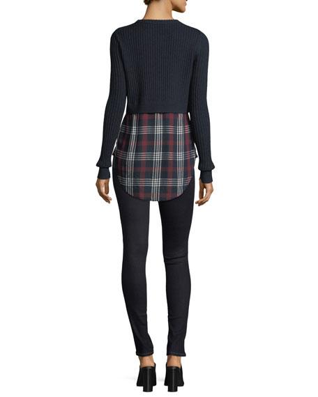 Garret Mixed-Media Rib-Knit Plaid Tunic