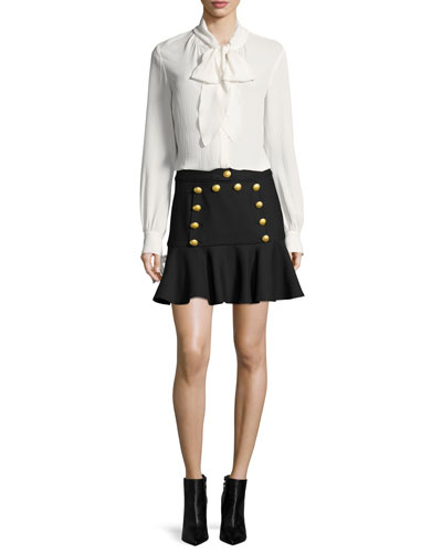 Presley Bow Long-Sleeve Button-Front Blouse and Matching Items