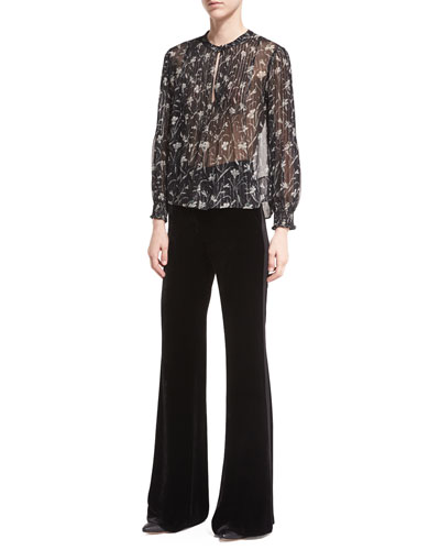 Walker Floral-Print Sheer Long-Sleeve Peasant Top and Matching Items