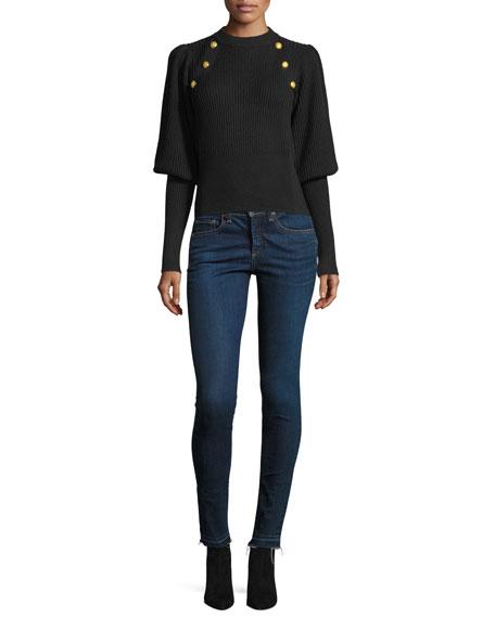 Jude Crewneck Leg-of-Mutton Sleeve Wool Sweater