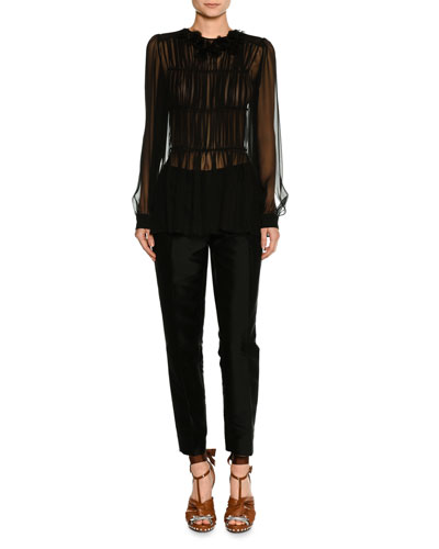 Long-Sleeve Pleated Sheer Chiffon Blouse and Matching Items