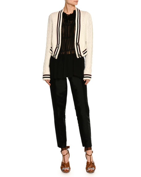 Cable-Knit Button-Front Wool-Blend Cardigan Sweater
