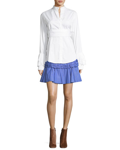 Tiered Ruffled Striped Cotton Mini Skirt and Matching Items