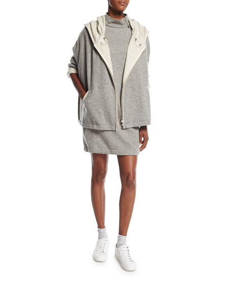 Double-Face Cashmere Zip-Front Hoodie