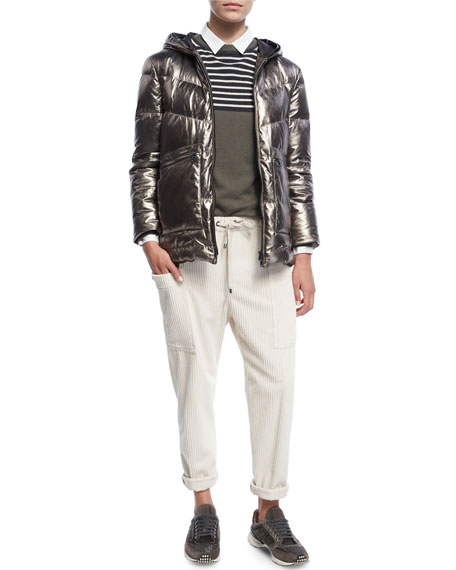 Metallic Quilted Leather Puffer Coat