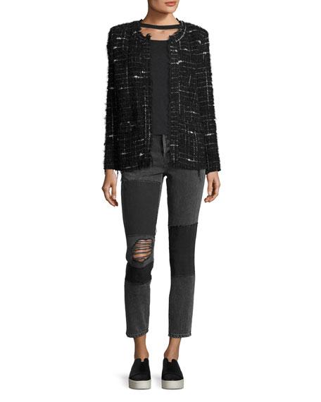 Espo Long-Sleeve Open-Front Boucle Jacket