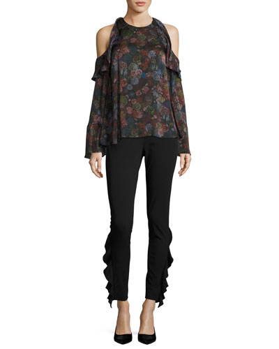 Ciclan Cold-Shoulder Floral-Print Silk Top and Matching Items