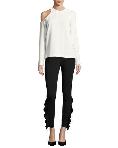 Fholan Slim-Fit Ponte Pants w/ Ruffled Trim and Matching Items