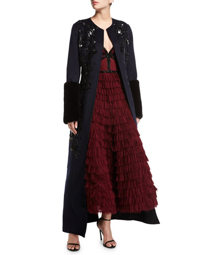 Long Paillette-Embellished Coat w/Mink Fur Cuffs and Matching Items