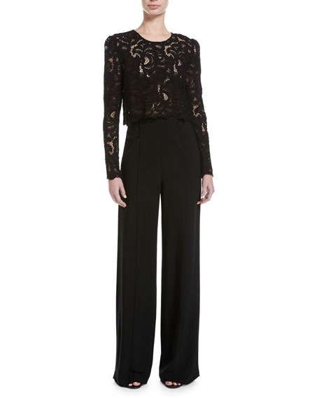 Talia Long-Sleeve Jewel-Neck Cropped Lace Top