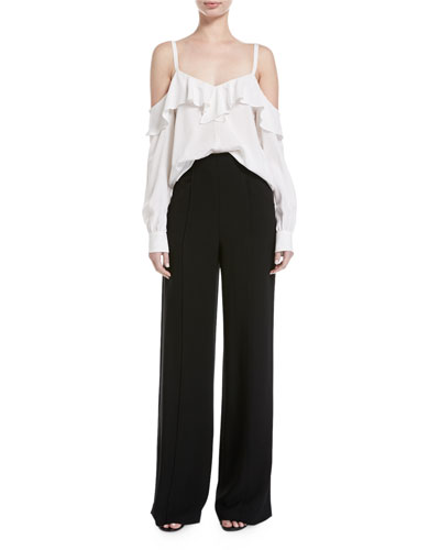 Marlo High-Waist Wide-Leg Crepe Pants  and Matching Items
